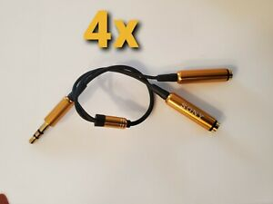 """4 pack of Sony """"Y"""" Cable Splitter Converter 3.5MM TRS Dual Female To Male Jack's"""