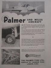 7/1947 PUB THE PALMER TYRE WHEEL SILVOFLEX MILES GEMINI AIRCRAFT AVION AD