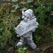 Massive große Steinfigur Gnom Welcome Troll Wichtel Kobold Steinguss frostfest