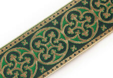 "2.25"" Vestment Jacquard Trim. Pugin Ecclesiastical. Gold on Green Gothic Trefoil"