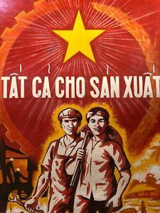 👀 Antique Vietnam War Vietnamese Asian Propaganda Oil Painting Poster - Signed