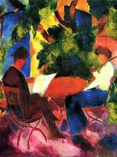 AUGUST MACKE COUPLE AT GARDEN TABLE OLD MASTER ART PAINTING PRINT 249OMA