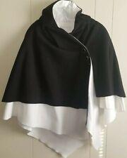 IMAN Classy Sophisticated Black/White Women Poncho Shawl Wrap One Size Coat
