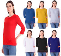 Womens Long Sleeve T Shirt Top Ladies Crew Neck T-Shirt Tee Top Size From 8-26