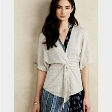 NWT Anthropologie By Moth Pravin Tie Front Grey Cardigan, Size S