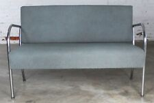 Art Deco Machine Age Streamline Moderne Royal Metal Chrome & Vinyl Bench Sofa