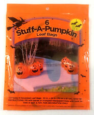 "Stuff-A-Pumpkin Lawn Leaf Bag  6 Decorated Bags Jack-O-Lantern Halloween 30""x24"""