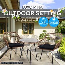 3 Piece Outdoor Lounge Furniture Setting PE Wicker Rattan Chair Garden Patio Set