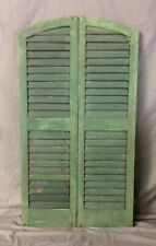 Pair Antique 14 x 48  Arch Top House Window Wood Louver Shutters Chic 58-19B