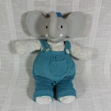 Meiya and Alvin the Elephant Mini Plush Soft Teething Toy Blue Overalls