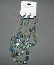 Ashley Cooper Necklace Earrings Set Glass Beads Pierced Earrings Silvertone NWT