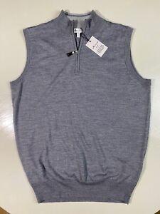 Peter Millar Men's M Half Zip Gray Wool / Silk Blend Vest NEW $168 MEDIUM