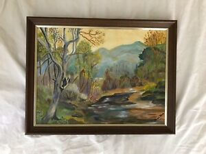 Vintage original painting nature woods stream Scene Greans And Blues