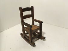 Vintage Dollhouse Miniatures Wood & Rattan Rocking Chair #6