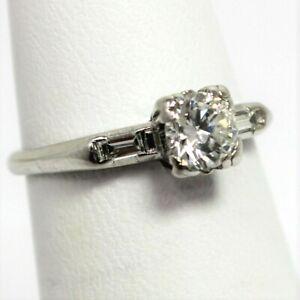 Platinum / Palladium Diamond Solitaire + Accents Engagement Ring Size 5.25 B0563