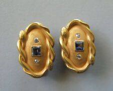 Vintage Art Deco 14K Gold Sapphire and Diamond Dress Clips