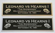Leonard vs Hearns The Showdown nameplate for signed boxing gloves trunks photo