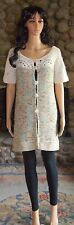 BCBG Maxazria Size Large Bohemian Crocheted Colorful Button Front Tunic Sweater