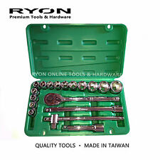 """18PC 1/2"""" Dr. Socket Set Ratchet Metric Cr-V 10-32mm High Quality Made in Taiwan"""