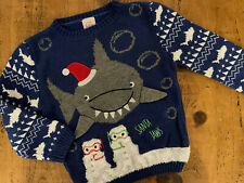 Boy age 4-5 years George Blue white Shark CHRISTMAS SANTA JAWS Jumper Pullover