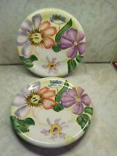 """Pfaltzgraff Flower Market Pair 12"""" Chop Plate Charger Platter Green Underside"""