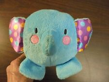 """Fisher Price Baby Blue elephant Stuffed animal with Chime rattle 5"""" Tall"""