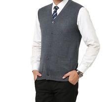 Men's Gray Wool Knitted V-Neck Cardigan Pocket Sweater Vest - Medium