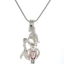 "Pick a Pearl Mermaid Locket Pendant Bead Cage 22"" Steel Snake Chain S-KP242"