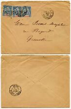 FRENCH INDOCHINA PEACE + COMMERCE 15c x 3 to GRENOBLE 1899