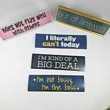 Name Plate Funny Friend  5  interchangeable sayings and  2 desk plates
