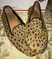 $450 Stubbs & Wootton Leopard Cheetah Smoking Slippers Loafers, size 8