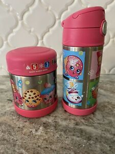 Shopkins Kids Thermos & New Straws Set 12 oz beverage-10 oz food Containers