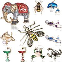 Retro Bronze Animal Dog Elephant Crystal Rhinestone Pearl Brooch Pin Jewelry