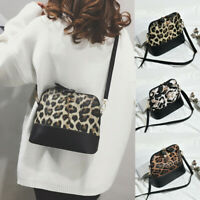 Womens Leopard Print Crossbody Bag Fawn Pendant Shell Shoulder Bag Messenger Bag