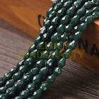 New Arrival 30pcs 8X6mm Faceted Teardrop Loose Spacer Glass Beads Deep Green
