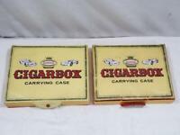 2 Vintage 1968 Aurora Cigar Box Carrying Case FREE USA SHIP