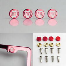 Laser Etched 4pcs Red Aluminum Fiat License Plate Frame Fastener Screws Cap