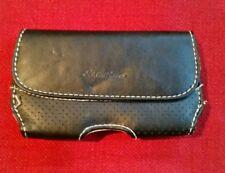 Eddie Bauer Smart Phone Case - Stitched Black Leather, Tan Interior - Belt Clip