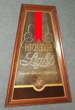 MICHELOB LIGHT BEER WOOD MIRROR SIGN ADVERTISING VINTAGE DISPLAY MAN CAVE 70s