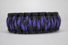 550 Paracord Survival Bracelet King Cobra Black/Purple/Violet Raven Camping
