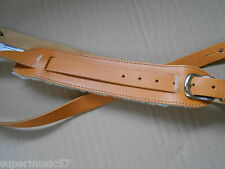 UK MADE VINTAGE SHEEPSKIN PADDED SHOULDER PAD REAL LEATHER GUITAR STRAP - TAN