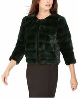 Calvin Klein Women's Jacket Hunter Green Size Large L Faux-Fur Shrug $99 102