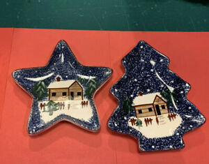 2pc Cook's Bazaar Holly Mountain Lodge Christmas Tree & Star Candy Serving Trays
