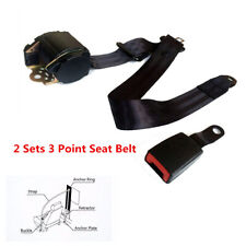 2 Set Black Iron Plate style Universal Car Retractable 3 Point Safety Seat Belts