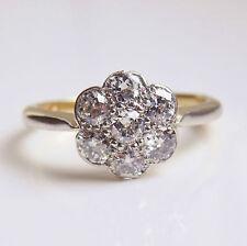 Antiguo Art Deco Diamante Anillo de clúster de Margarita de oro de 18ct (0.70ct) c1920; tamaño H 1/2