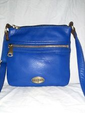 Fossil Royal Blue genuine Leather Flat Crossbody Shoulder Bag