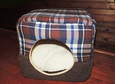 Pet Bed House Dog Cat Convertible Brown Plaid Removable Reversible Cushion New