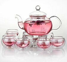 Jusalpha Glass Filtering Tea Maker Teapot with a Warmer and 6 Tea Cups Set