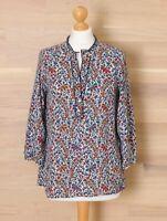 Zara Women's Size M Floral Leaf Print V Neck Popover Style Shirt