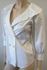 MOSCHINO White Cotton Blend Ruffle Collar Neckline 3/4 Sleeve Blouse Shirt Top